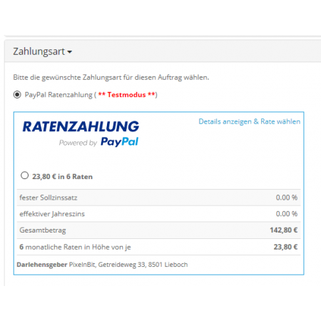 Instalment by PayPal